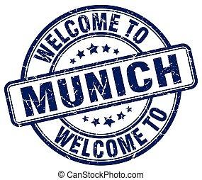welcome to Munich blue round vintage stamp