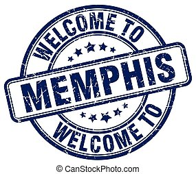 welcome to Memphis blue round vintage stamp