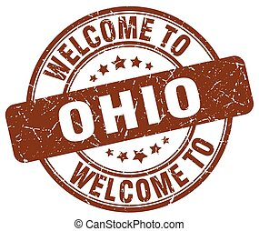 welcome to Ohio brown round vintage stamp