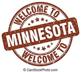 welcome to Minnesota brown round vintage stamp