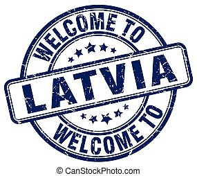 welcome to Latvia blue round vintage stamp