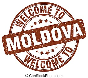 welcome to Moldova brown round vintage stamp