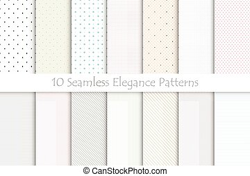 Collection of delicate seamless patterns.