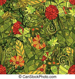 hand drawn vector floral seamless pattern