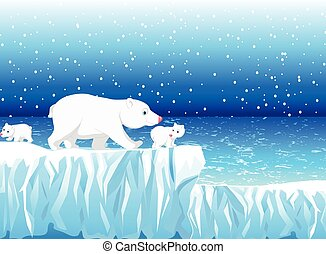 funny polar bear family