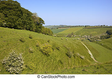 yorkshire wolds countryside - a hilly yorkshire wolds...