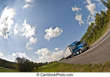 Fish-eye View of a Blue Semi Truck - Horizontal shot of a...