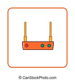 Modem icon, simple style - Modem icon in simple style on...