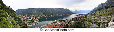 Kotor - View of the Kotor and Kotor Bay Montenegro Panorama...