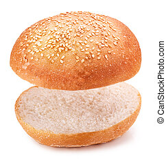 hamburger bun Isolated on white background Clipping Path