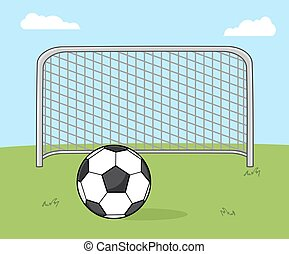 Soccer Ball With Football Gate. Illustration With Background