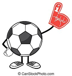 Soccer Ball Wearing A Foam Finger - Soccer Ball Faceless...