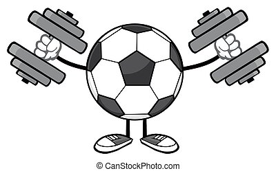 Soccer Ball With Dumbbells - Soccer Ball Faceless Cartoon...