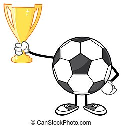 Soccer Ball Holding A Golden Cup - Soccer Ball Cartoon...