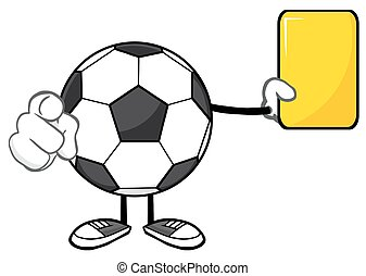 Soccer Ball Showing Yellow Card - Soccer Ball Faceless...