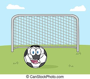 Smiling Soccer Ball Cartoon Mascot Character With Football...
