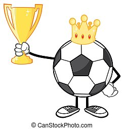 King Soccer Ball Holding A Cup - King Soccer Ball Faceless...