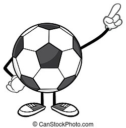Soccer Ball Faceless Pointing - Soccer Ball Faceless Cartoon...