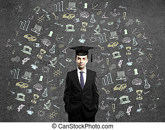 Graduation concept with education related sketches around...