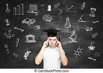 Graduation concept with pensive man - Graduation concept...