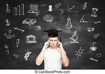 Graduation concept with pensive man - Graduation concept...