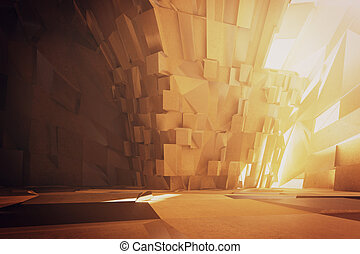 Abstract interior with concrete floor Mock up, 3D Rendering