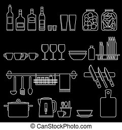 Cooking utensils line icons - Kitchenware line icons Vector...