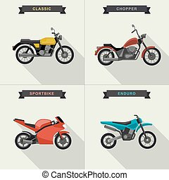 Motorcycles illustrations set. - Vector motorcycles set in...