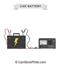 Car battery illustration - Car battery with connected cable...