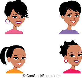 Cartoon Avatar Portrait Illustration Women