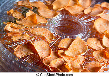 sweet potato on the dehydrator - sweet potato chips...