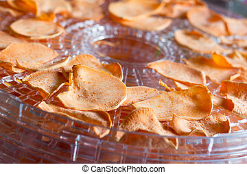 sweet potato chips dehydrating closeup