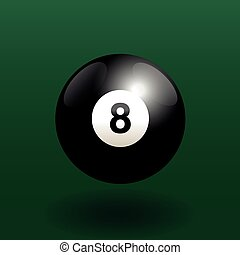 Billiard Eight Ball Black - Black billiard ball number eight...