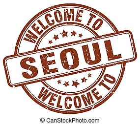 welcome to Seoul brown round vintage stamp
