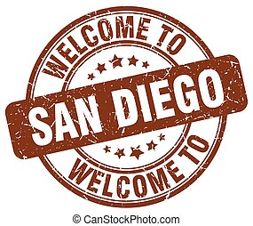 welcome to San Diego brown round vintage stamp