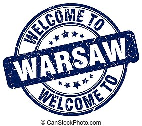 welcome to Warsaw blue round vintage stamp