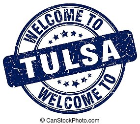 welcome to Tulsa blue round vintage stamp