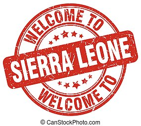welcome to Sierra Leone red round vintage stamp