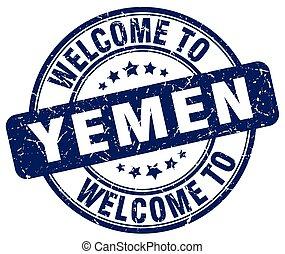 welcome to Yemen blue round vintage stamp