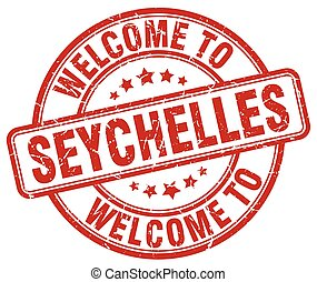 welcome to Seychelles red round vintage stamp