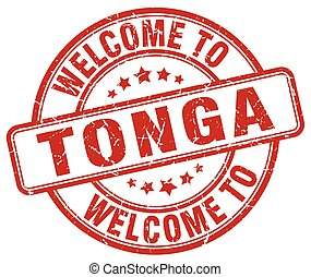 welcome to Tonga red round vintage stamp