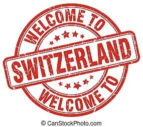 welcome to Switzerland red round vintage stamp