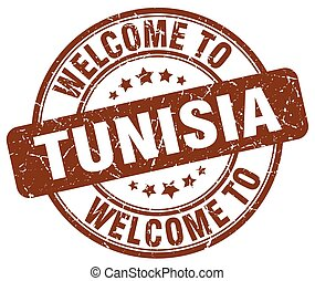 welcome to Tunisia brown round vintage stamp