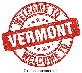 welcome to Vermont red round vintage stamp