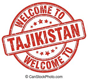 welcome to Tajikistan red round vintage stamp