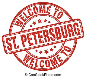welcome to St. Petersburg red round vintage stamp