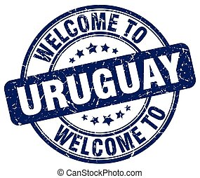 welcome to Uruguay blue round vintage stamp