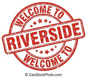 welcome to Riverside red round vintage stamp