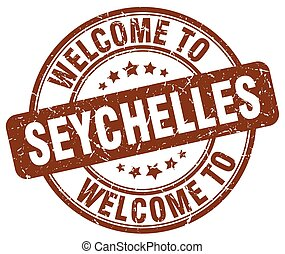 welcome to Seychelles brown round vintage stamp