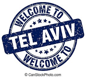 welcome to Tel Aviv blue round vintage stamp